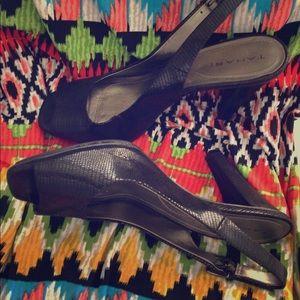 Tahari Open Toe Sling Back Heels